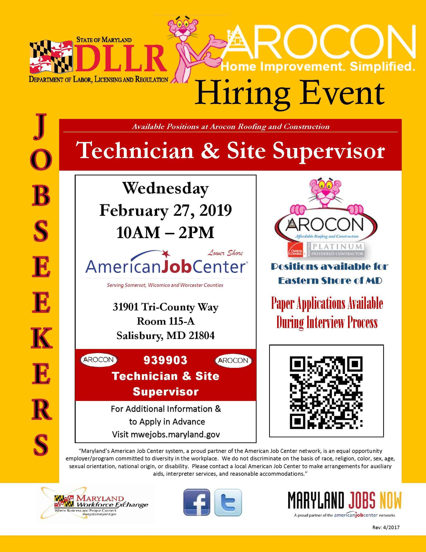AROCON Hiring Event Flyer