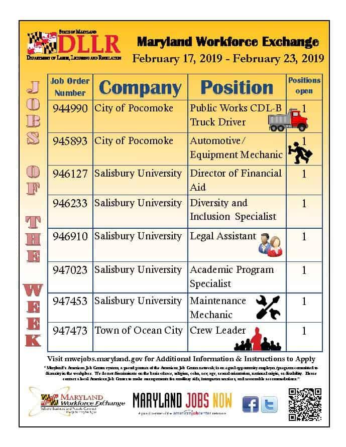 Jobs of the Week Feb  17-23, 2019 | American Job Center