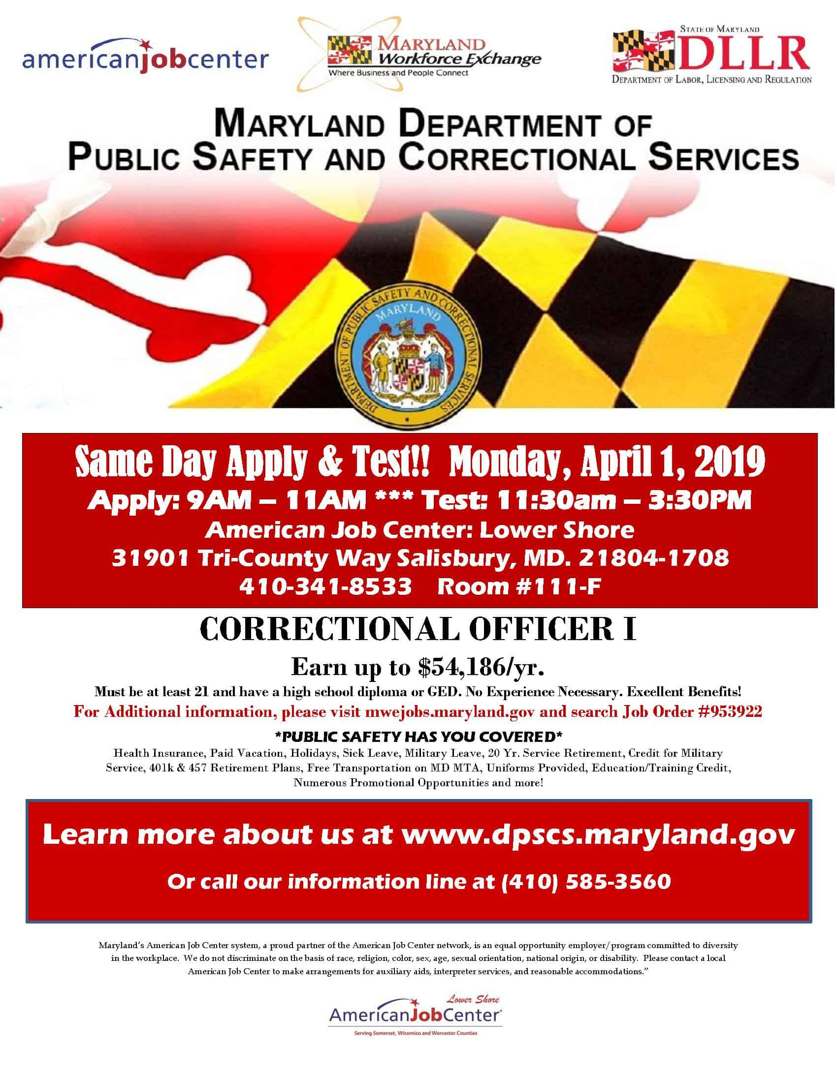 Amazing Md Dept Of Public Safety And Correctional Services Job Fair Download Free Architecture Designs Scobabritishbridgeorg