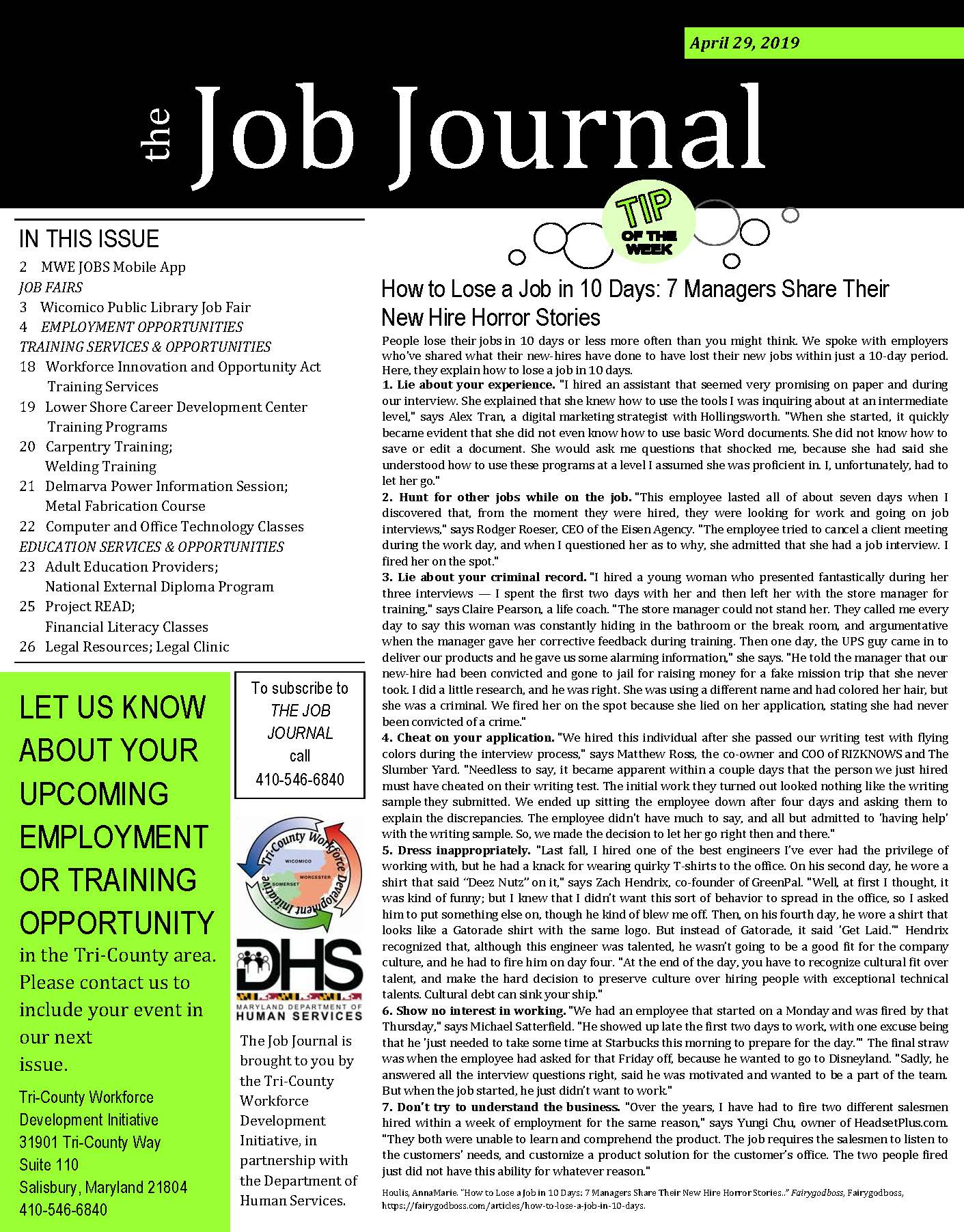 Front Page of 04292019 Job Journal