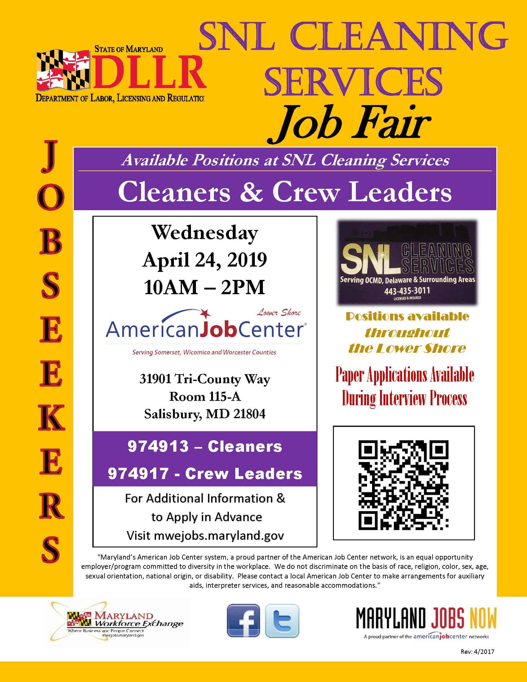 SNL Cleaning Services Job Fair 04242019 Flyer