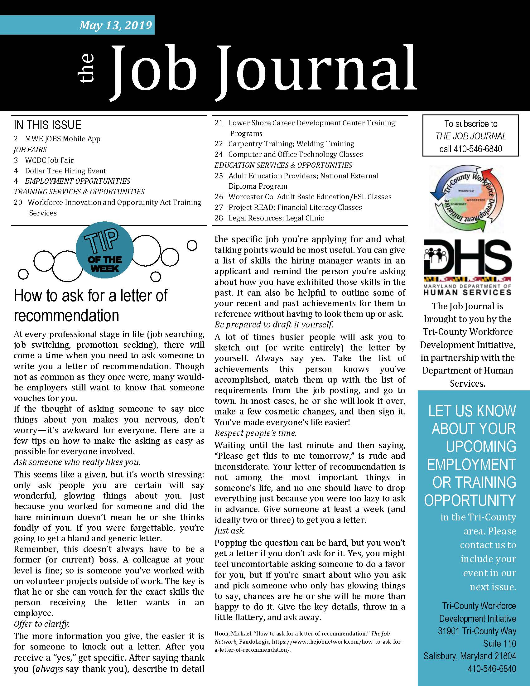 Front Cover of The Job Journal 05.13.2019