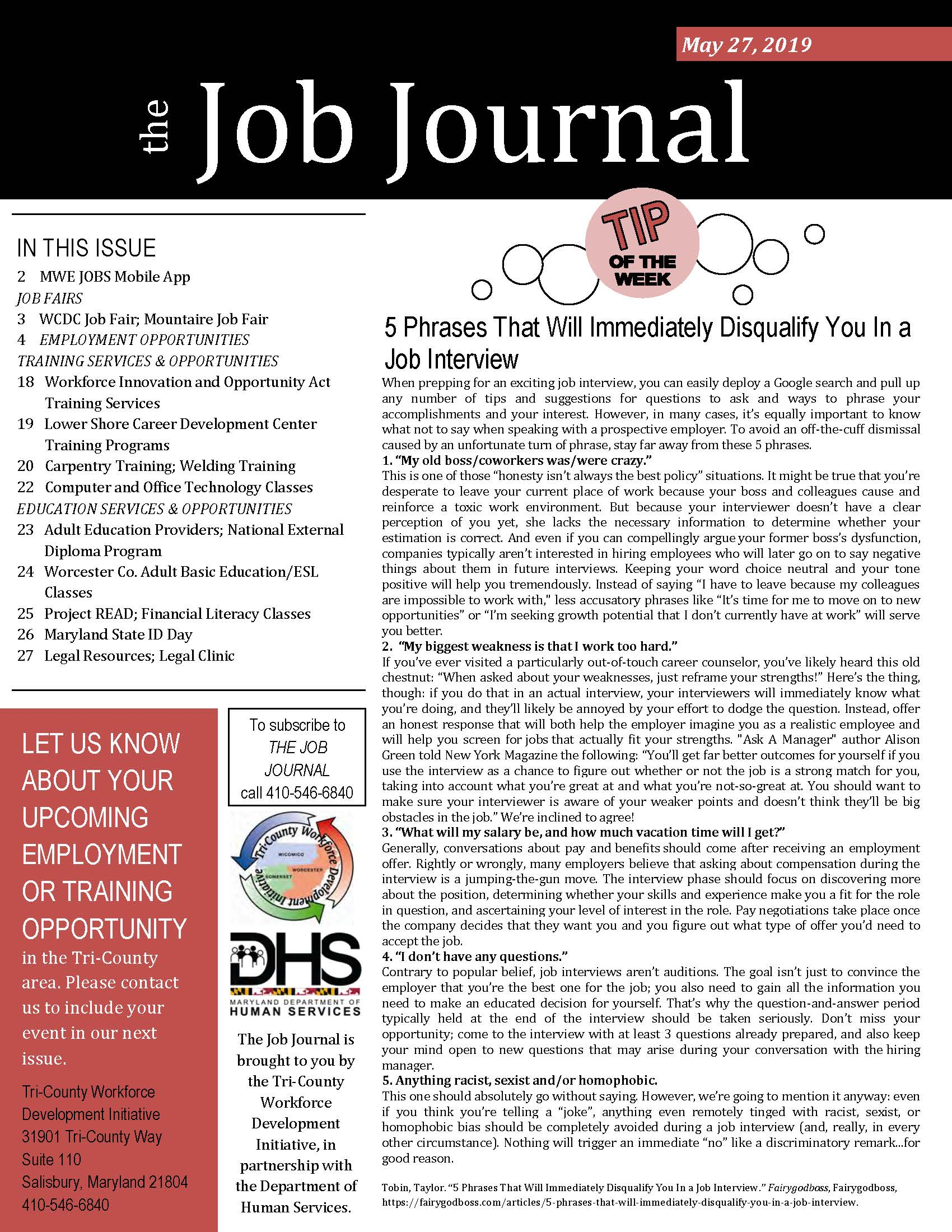 Cover page of The Job Journal for 05.27.2019