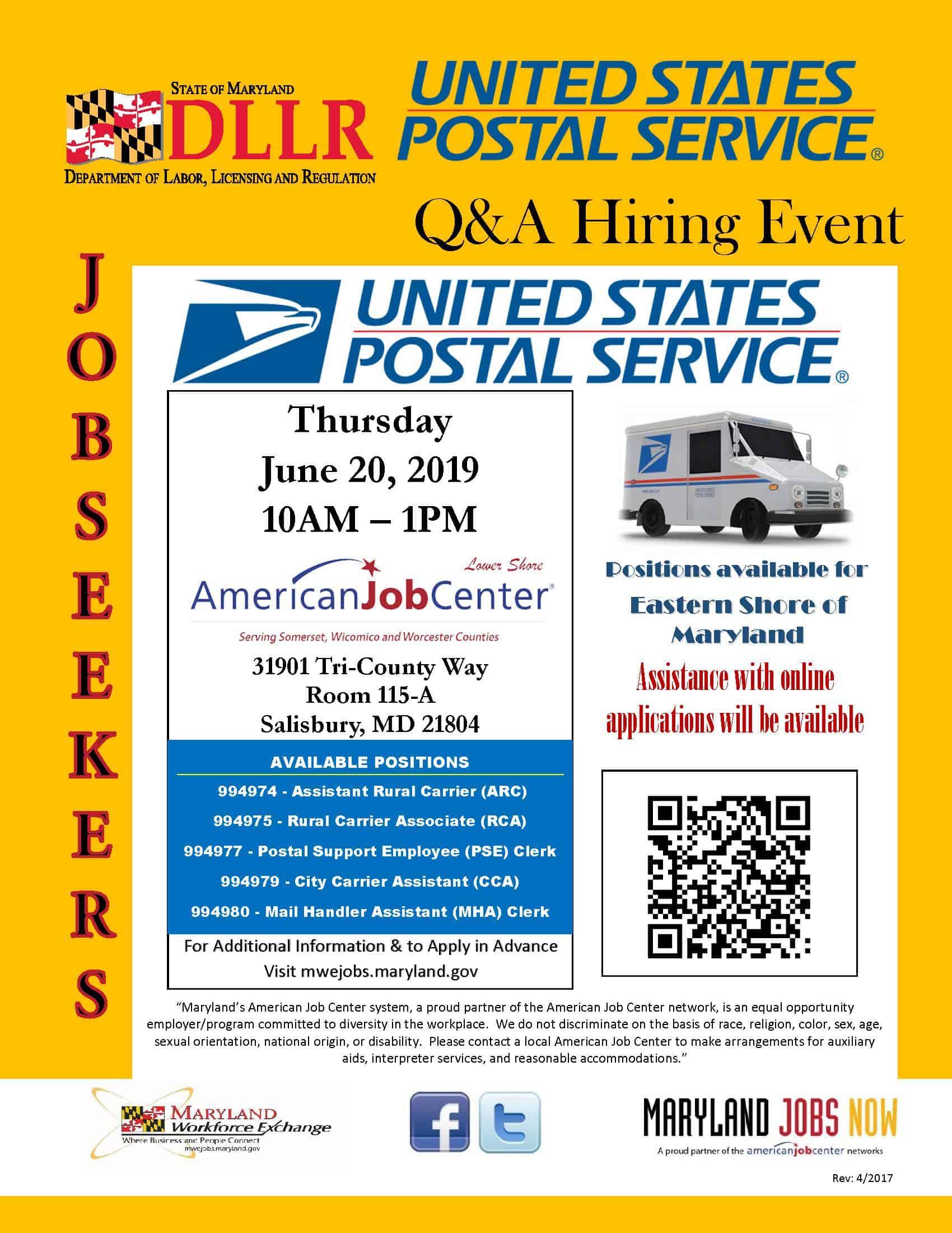 United States Postal Service Job Fair- June 20, 2019