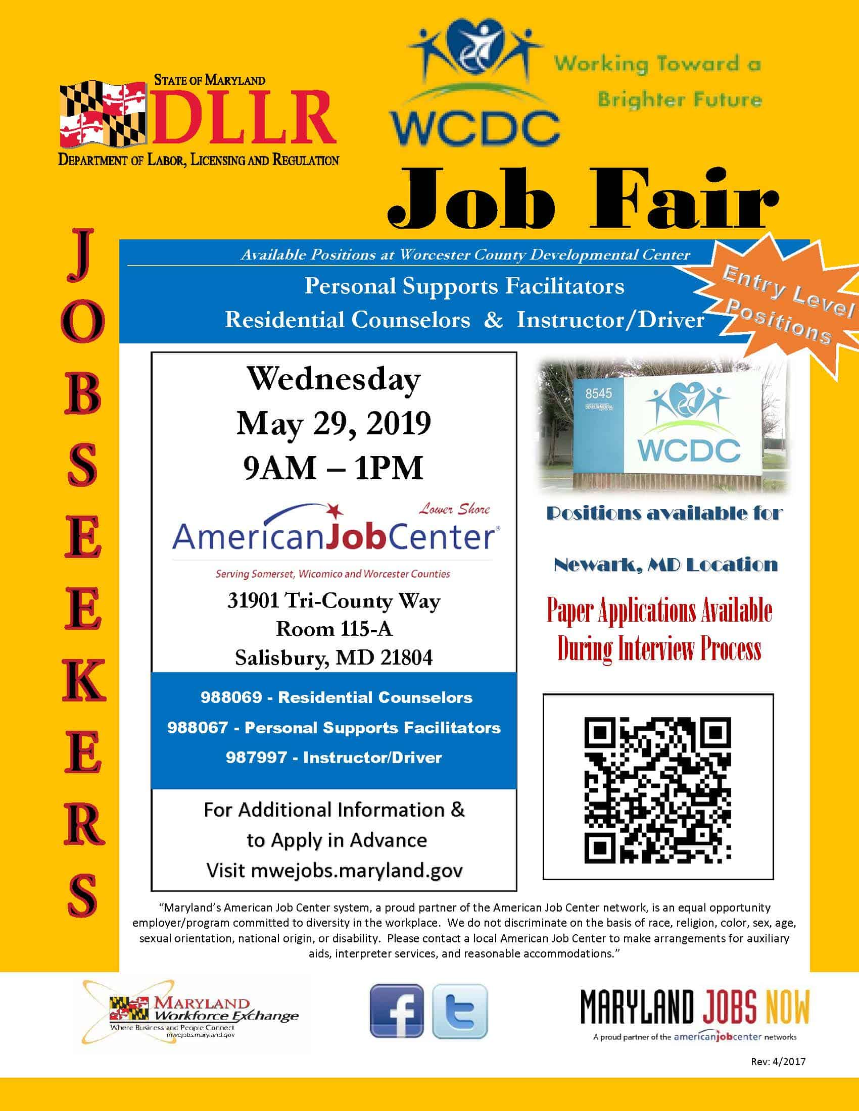 WCDC Job Fair Flyer 052919