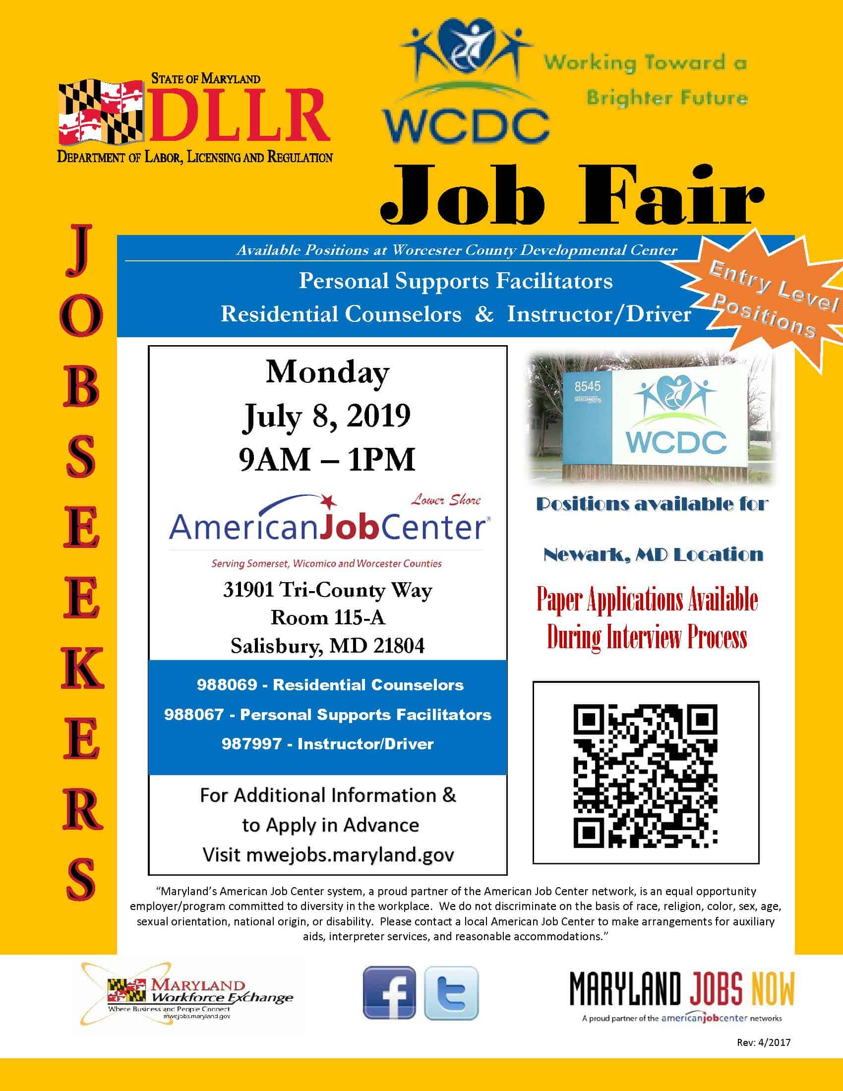 WCDC Job Fair Flyer 07-08-2019