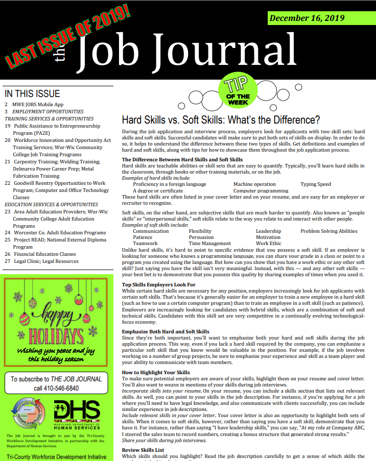 last 2019 job journal